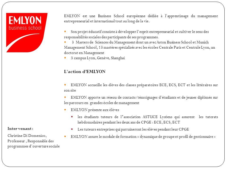 EMLYON est une Business School européenne dédiée à l'apprentissage du management entrepreneurial et international tout au long de la vie.