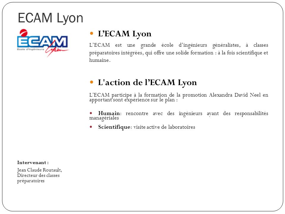 ECAM Lyon L'ECAM Lyon L action de l'ECAM Lyon