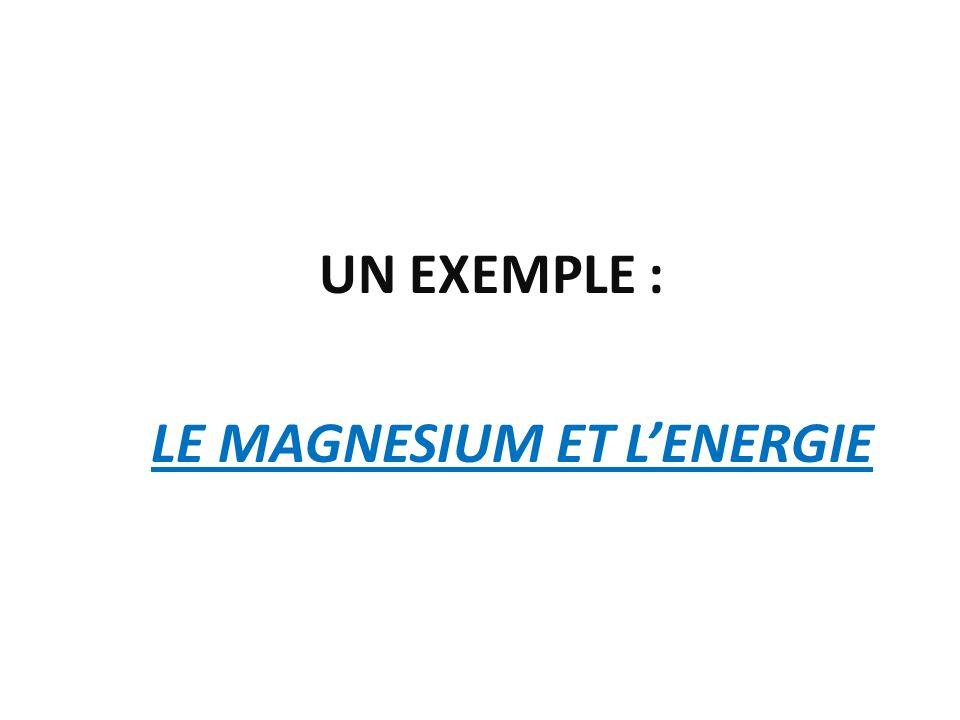 LE MAGNESIUM ET L'ENERGIE