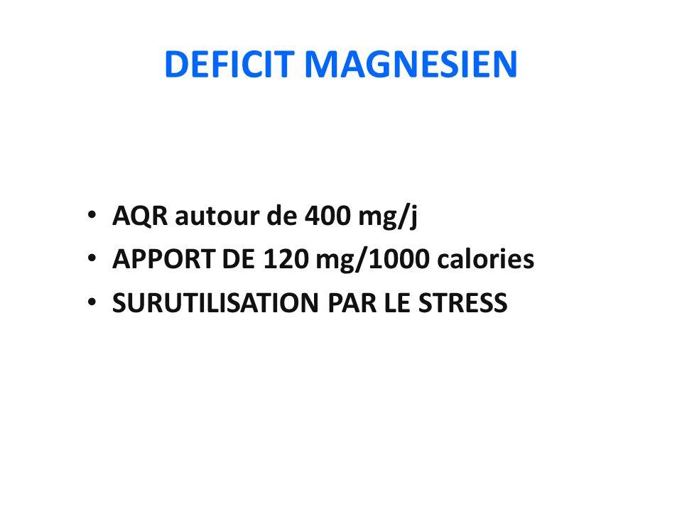 DEFICIT MAGNESIEN AQR autour de 400 mg/j