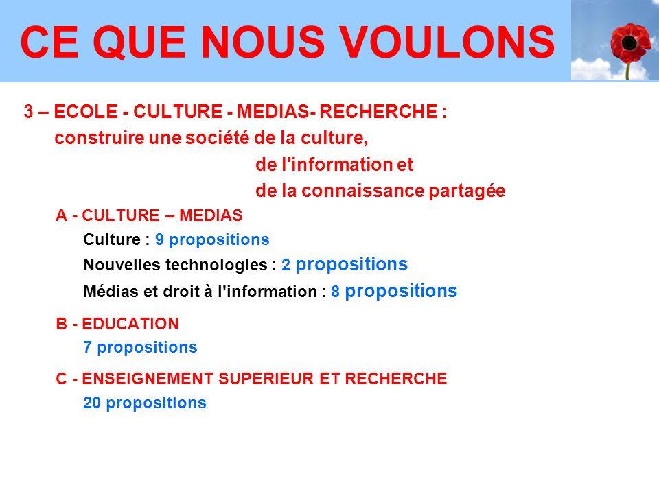 CE QUE NOUS VOULONS 3 – ECOLE - CULTURE - MEDIAS- RECHERCHE :