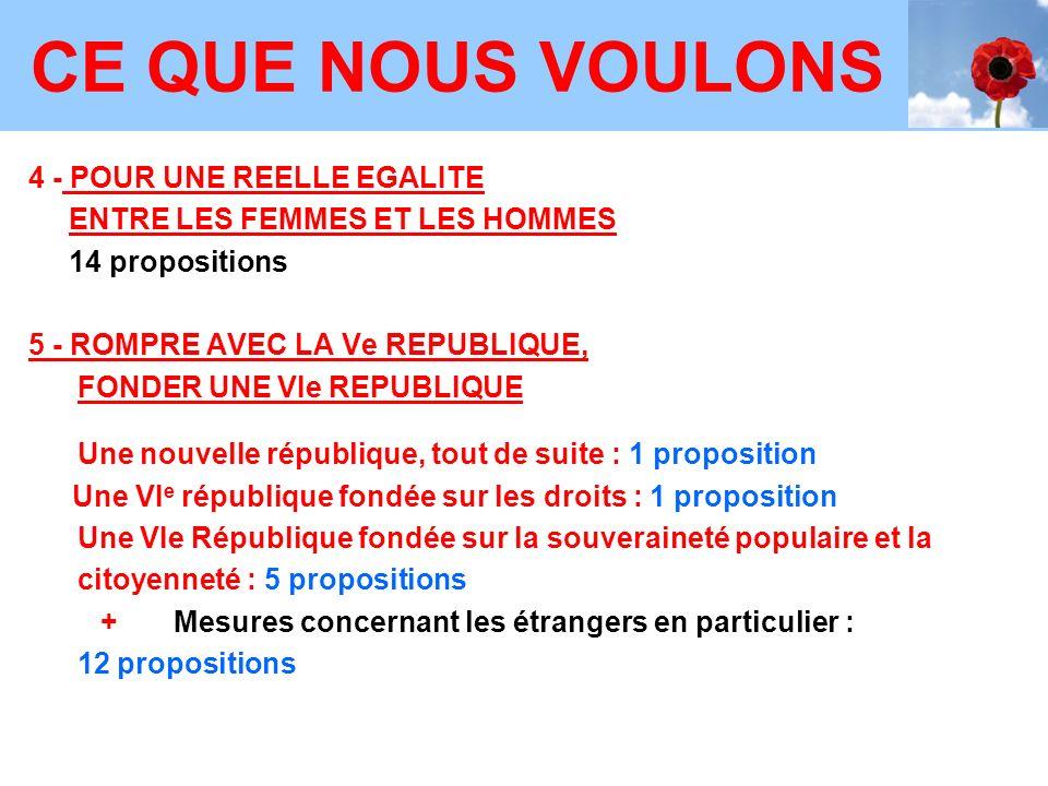 CE QUE NOUS VOULONS 4 - POUR UNE REELLE EGALITE