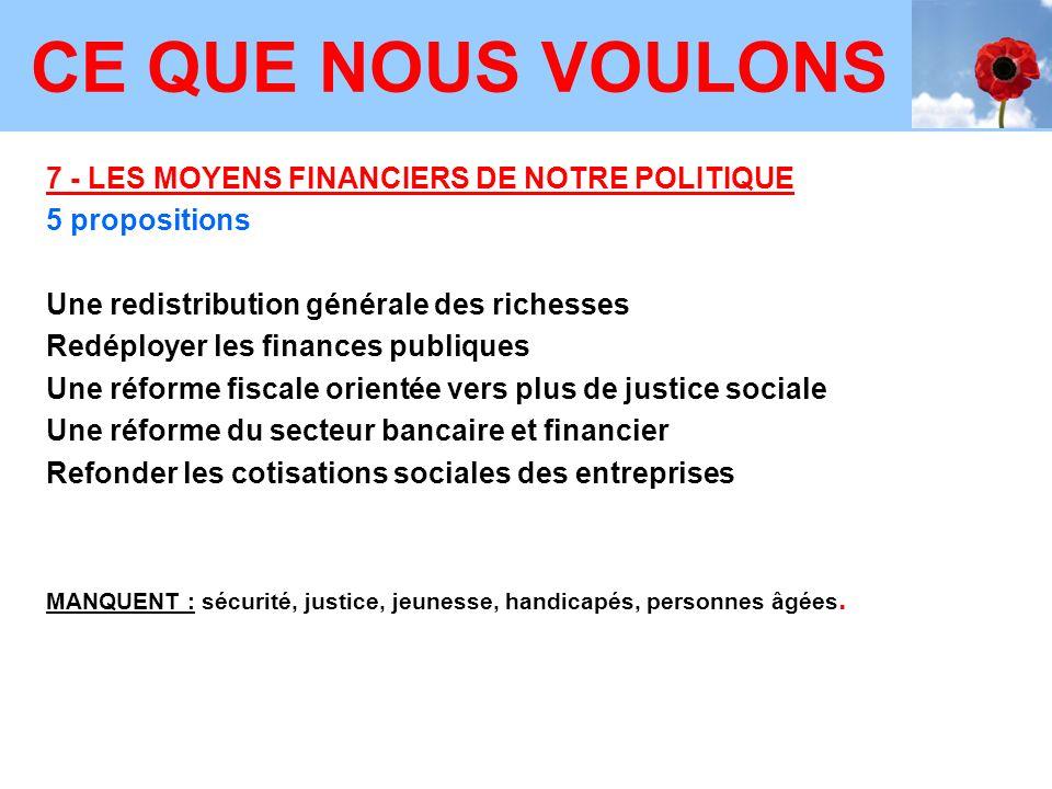 CE QUE NOUS VOULONS 7 - LES MOYENS FINANCIERS DE NOTRE POLITIQUE