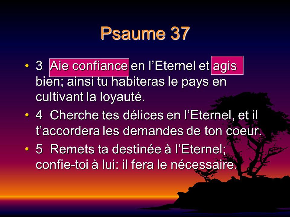 Psaume 37 3 Aie confiance en l'Eternel et agis bien; ainsi tu habiteras le pays en cultivant la loyauté.
