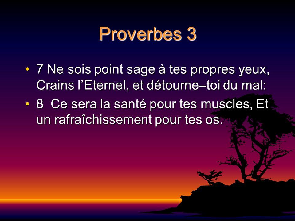 Proverbes 3 7 Ne sois point sage à tes propres yeux, Crains l'Eternel, et détourne–toi du mal: