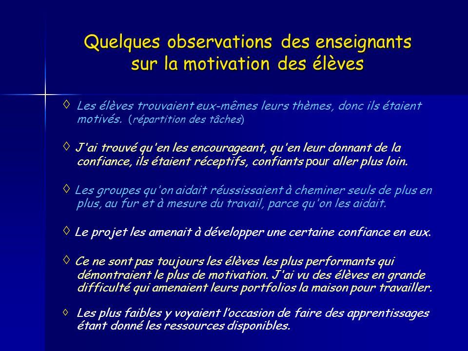 Quelques observations des enseignants sur la motivation des élèves