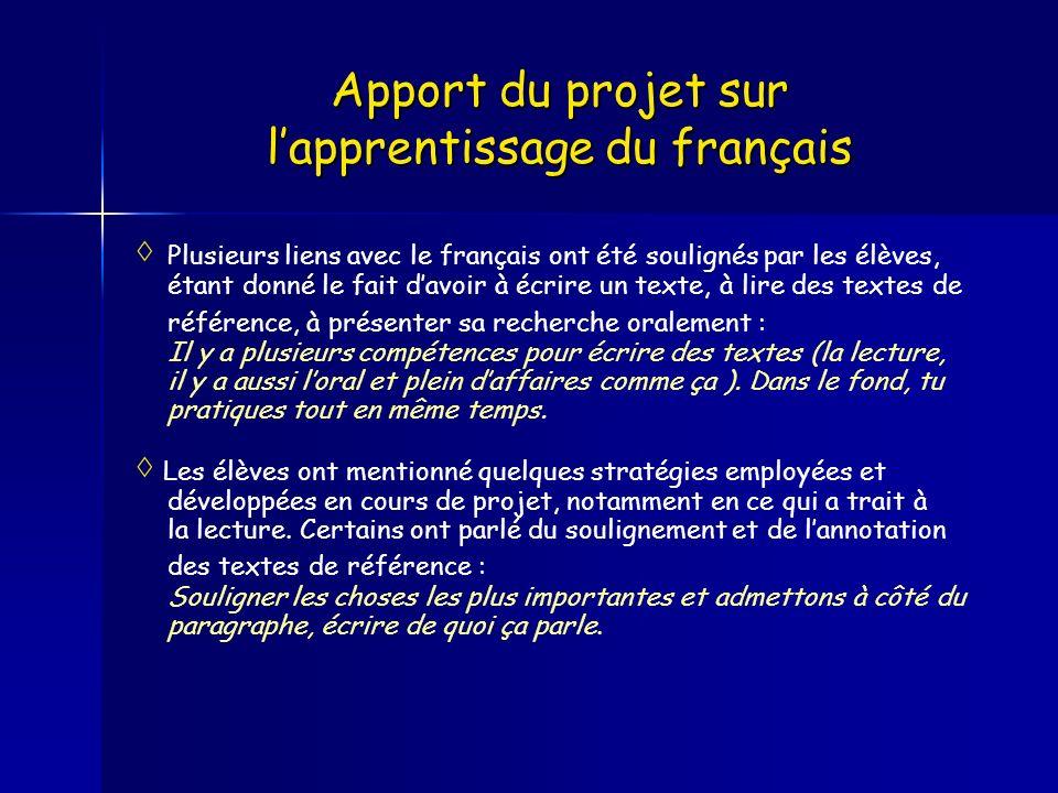 Apport du projet sur l'apprentissage du français