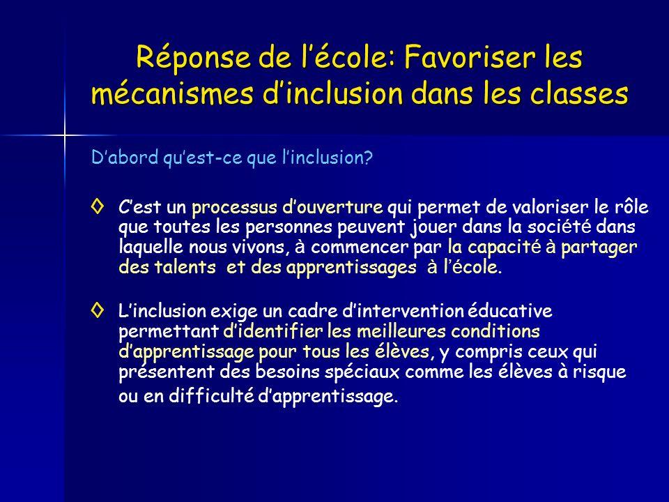 Réponse de l'école: Favoriser les mécanismes d'inclusion dans les classes