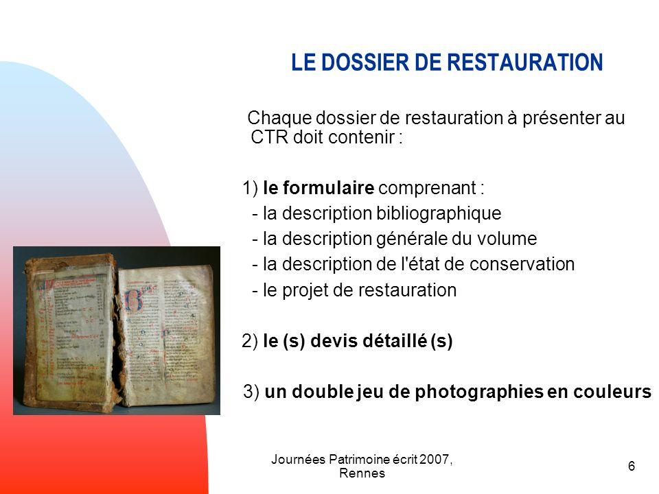 LE DOSSIER DE RESTAURATION