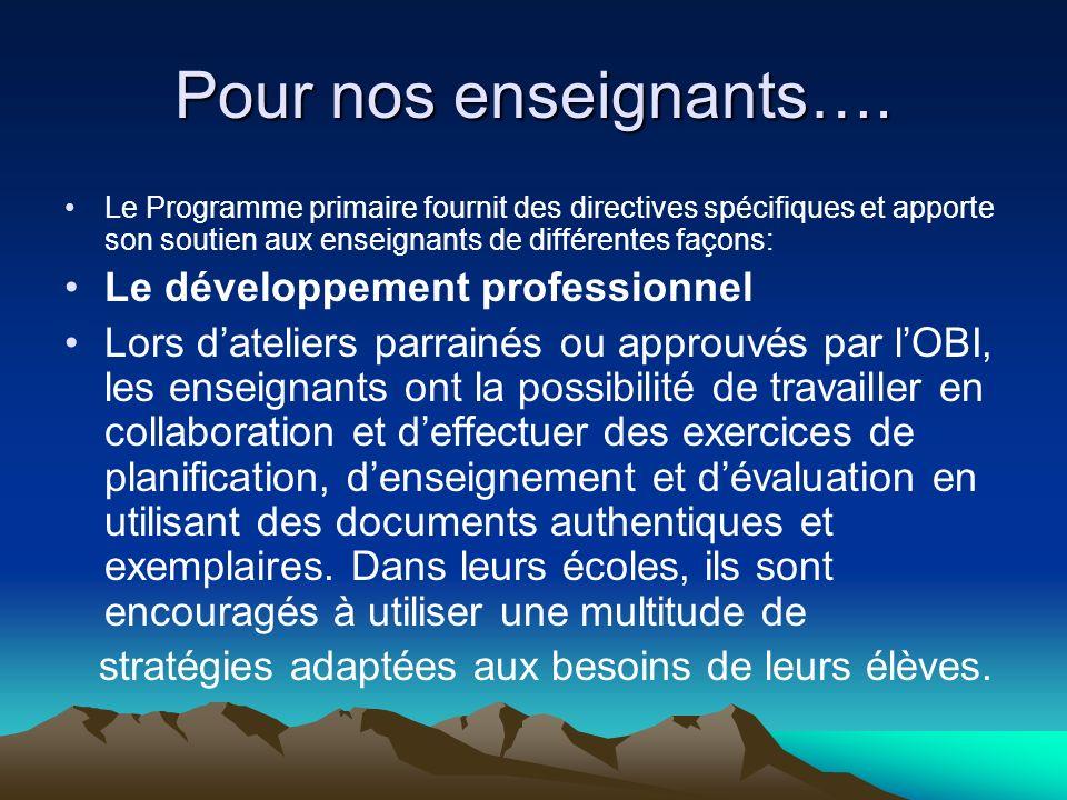 Pour nos enseignants…. Le développement professionnel