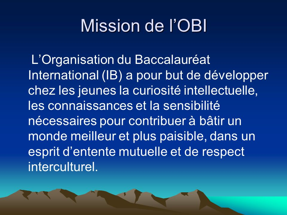 Mission de l'OBI