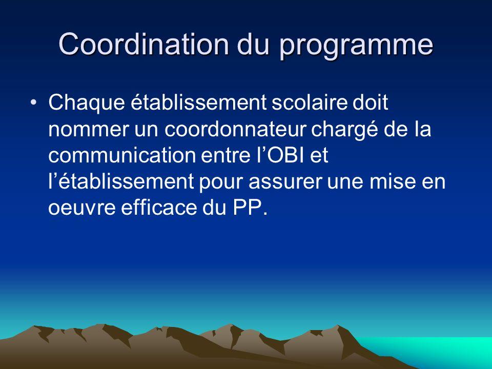 Coordination du programme