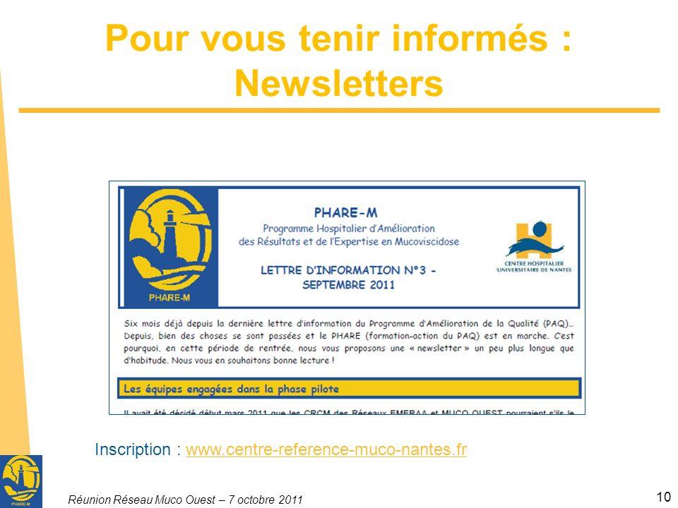 Pour vous tenir informés : Newsletters