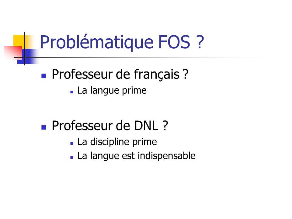 Problématique FOS Professeur de français Professeur de DNL