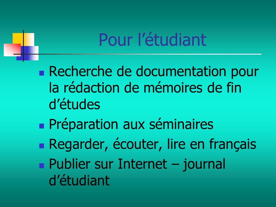 Pour l'étudiantRecherche de documentation pour la rédaction de mémoires de fin d'études. Préparation aux séminaires.