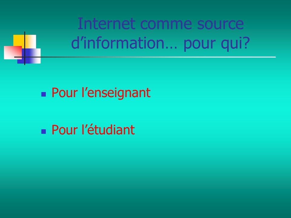 Internet comme source d'information… pour qui
