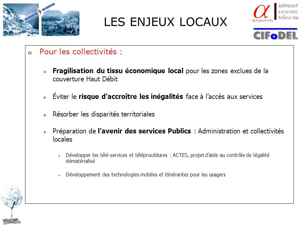 LES ENJEUX LOCAUX Pour les collectivités :