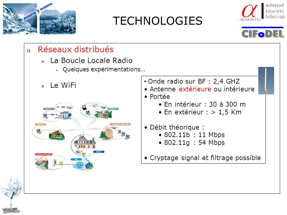 TECHNOLOGIES Réseaux distribués La Boucle Locale Radio Le WiFi