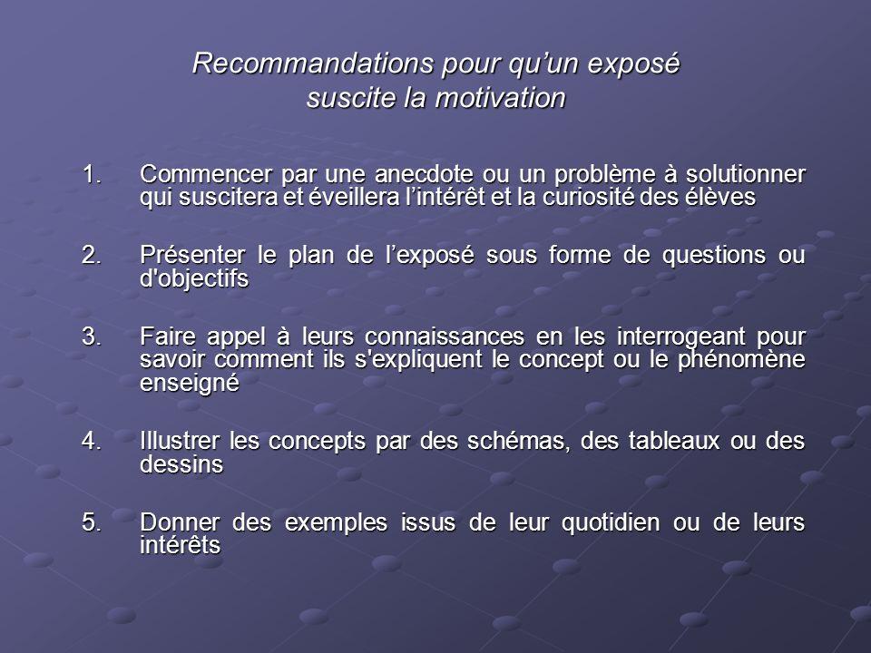 Recommandations pour qu'un exposé suscite la motivation