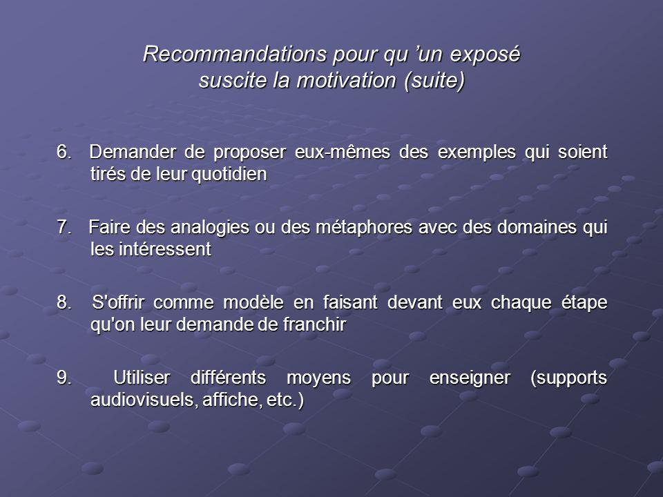 Recommandations pour qu 'un exposé suscite la motivation (suite)