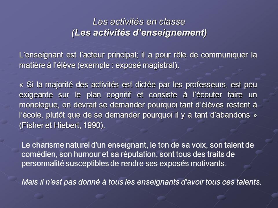 Les activités en classe (Les activités d'enseignement)