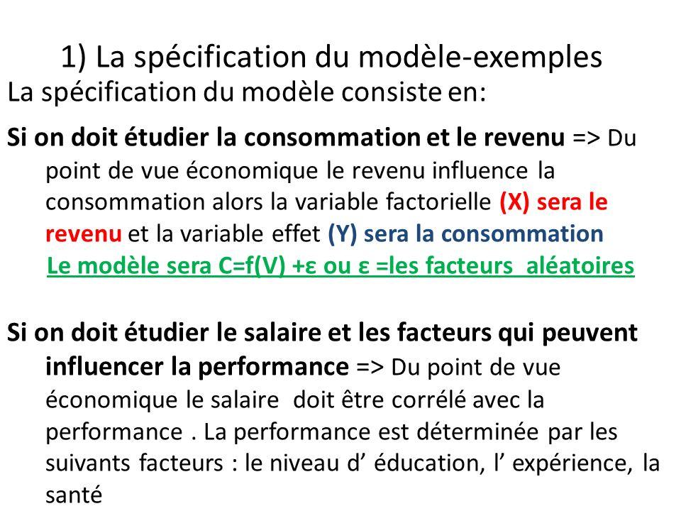 1) La spécification du modèle-exemples