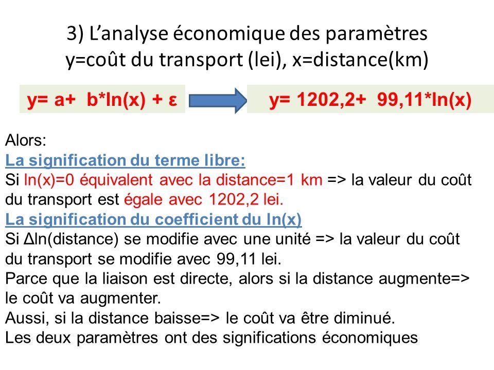 3) L'analyse économique des paramètres y=coût du transport (lei), x=distance(km)