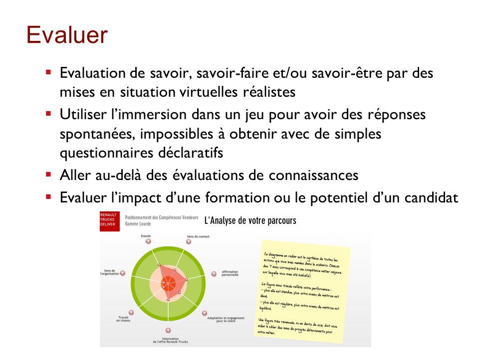 Evaluer Evaluation de savoir, savoir-faire et/ou savoir-être par des mises en situation virtuelles réalistes.