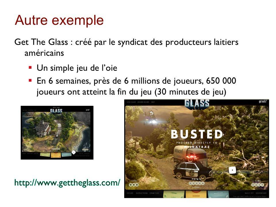 Autre exemple Get The Glass : créé par le syndicat des producteurs laitiers américains. Un simple jeu de l'oie.