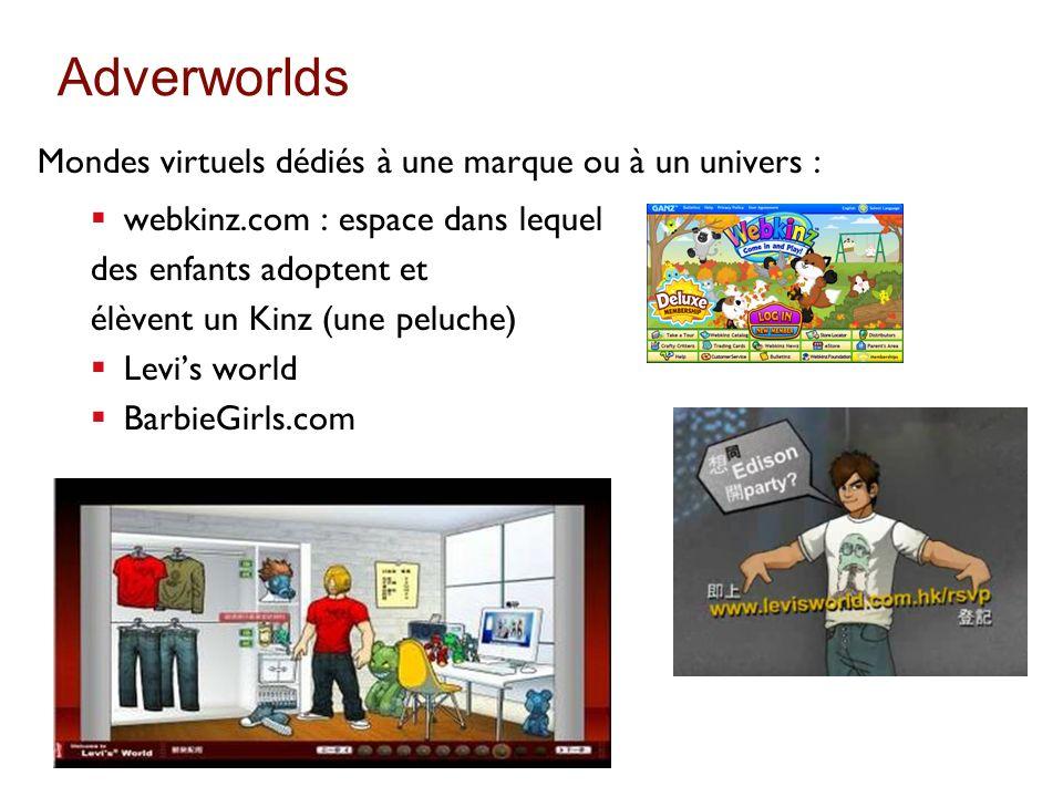 Adverworlds Mondes virtuels dédiés à une marque ou à un univers :