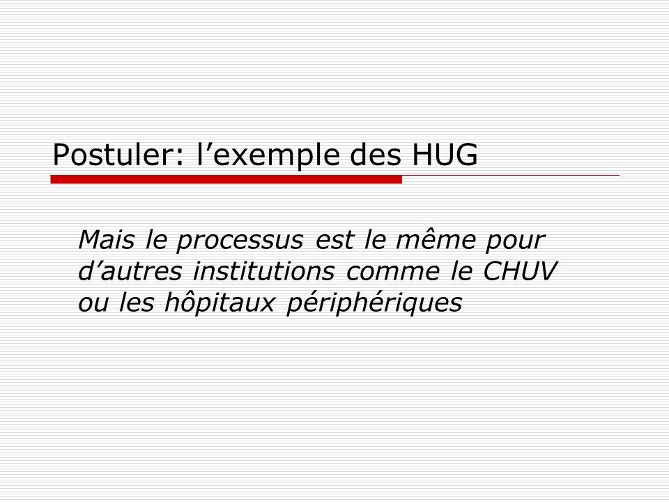 Postuler: l'exemple des HUG