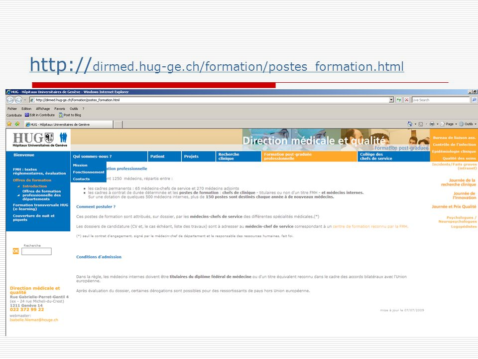 http://dirmed.hug-ge.ch/formation/postes_formation.html
