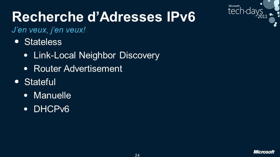 Recherche d'Adresses IPv6 J'en veux, j'en veux!