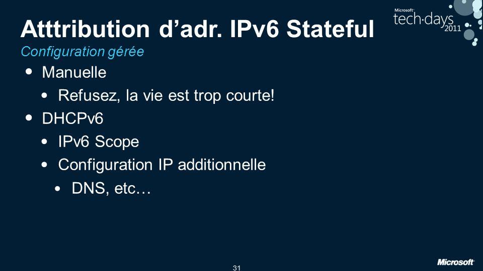 Atttribution d'adr. IPv6 Stateful Configuration gérée