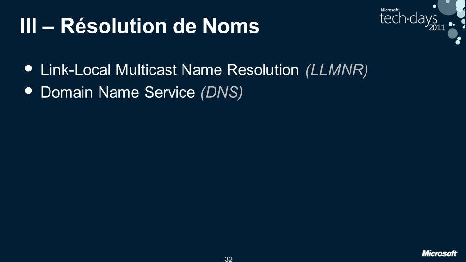 III – Résolution de Noms