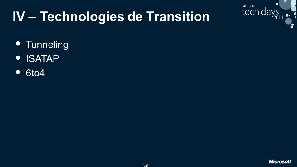IV – Technologies de Transition
