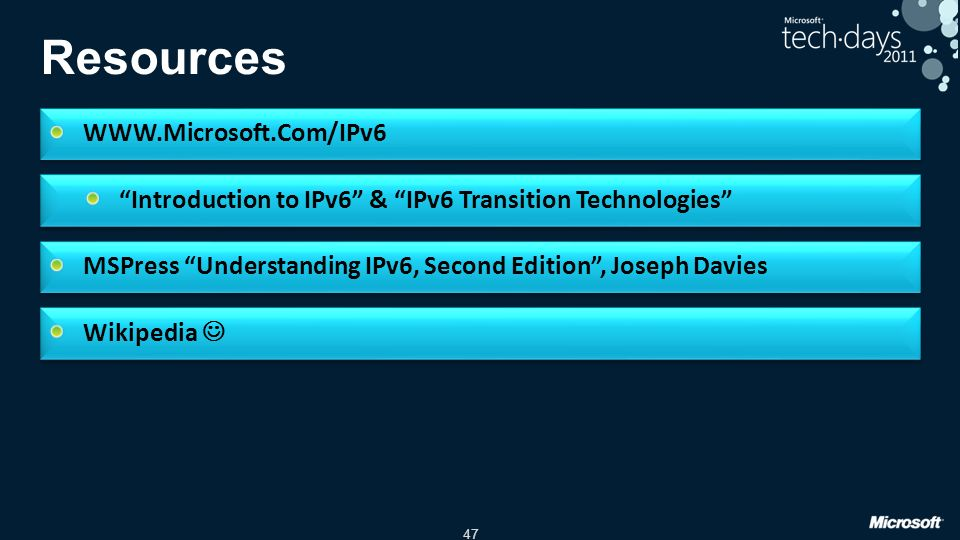 Resources WWW.Microsoft.Com/IPv6