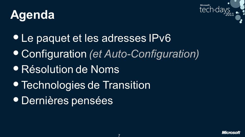 Agenda Le paquet et les adresses IPv6