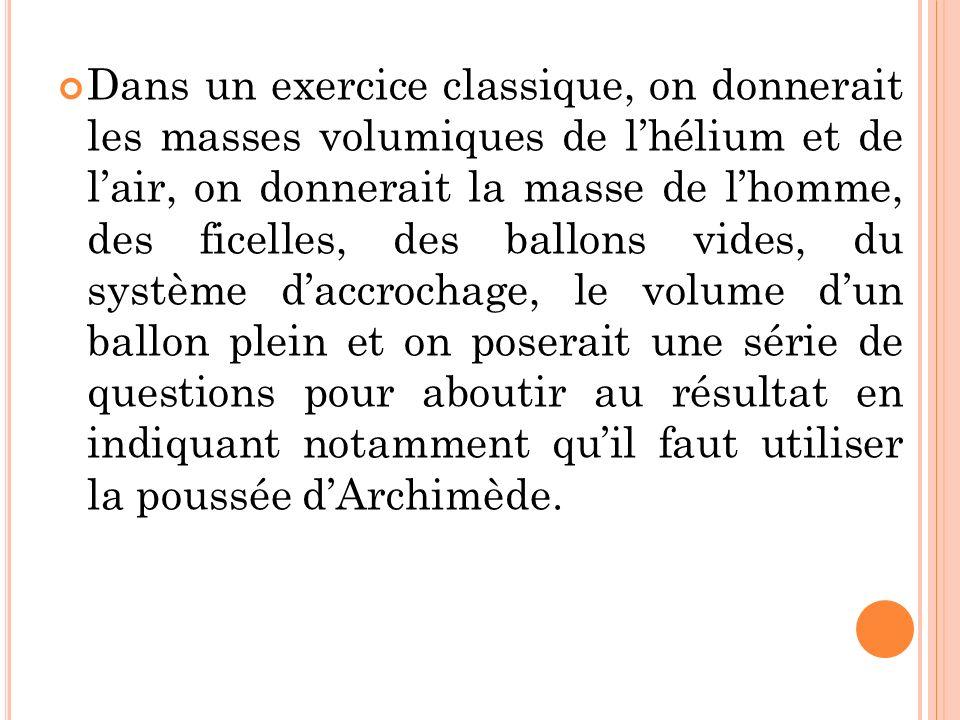 Dans un exercice classique, on donnerait les masses volumiques de l'hélium et de l'air, on donnerait la masse de l'homme, des ficelles, des ballons vides, du système d'accrochage, le volume d'un ballon plein et on poserait une série de questions pour aboutir au résultat en indiquant notamment qu'il faut utiliser la poussée d'Archimède.