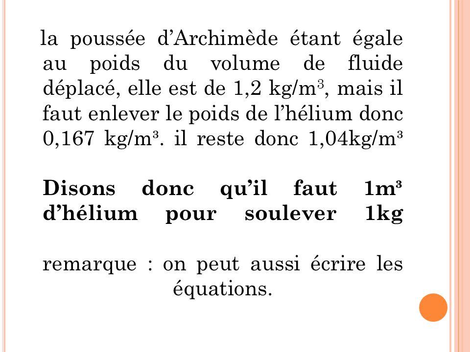 la poussée d'Archimède étant égale au poids du volume de fluide déplacé, elle est de 1,2 kg/m3, mais il faut enlever le poids de l'hélium donc 0,167 kg/m³.