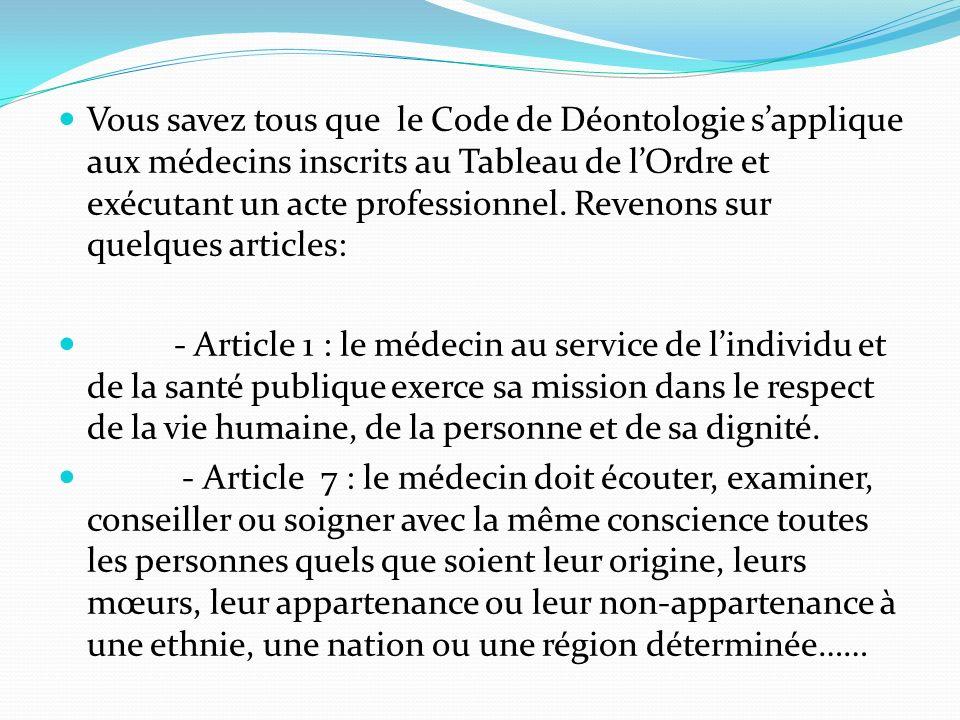 Vous savez tous que le Code de Déontologie s'applique aux médecins inscrits au Tableau de l'Ordre et exécutant un acte professionnel. Revenons sur quelques articles:
