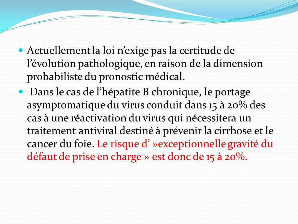 Actuellement la loi n'exige pas la certitude de l'évolution pathologique, en raison de la dimension probabiliste du pronostic médical.