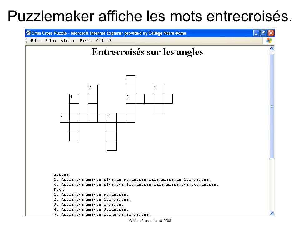 Puzzlemaker affiche les mots entrecroisés.
