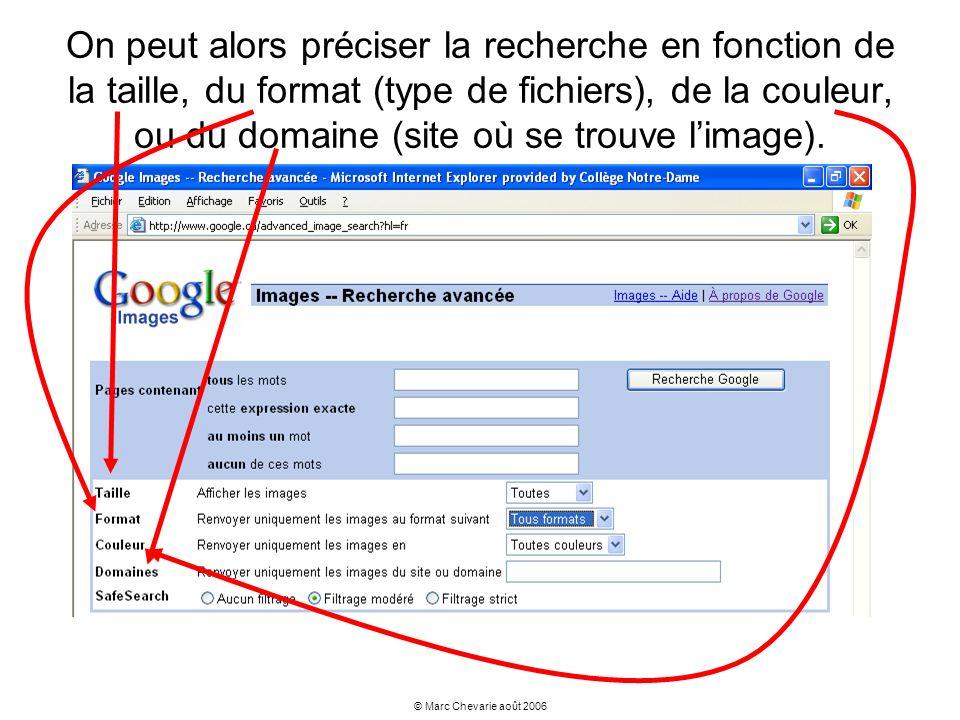 On peut alors préciser la recherche en fonction de la taille, du format (type de fichiers), de la couleur, ou du domaine (site où se trouve l'image).
