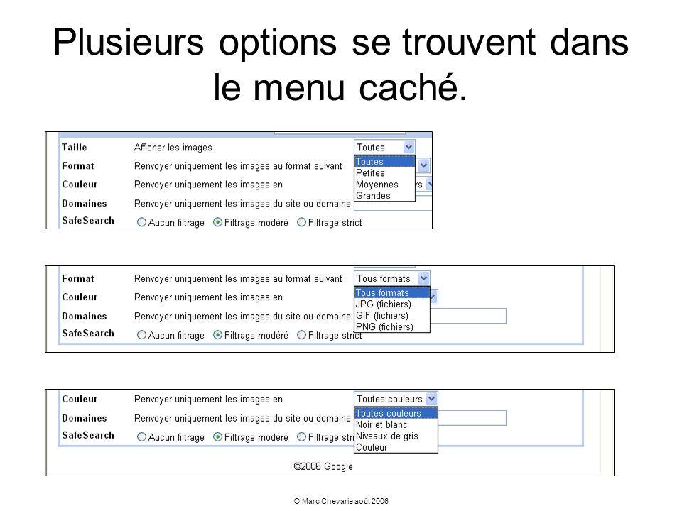 Plusieurs options se trouvent dans le menu caché.