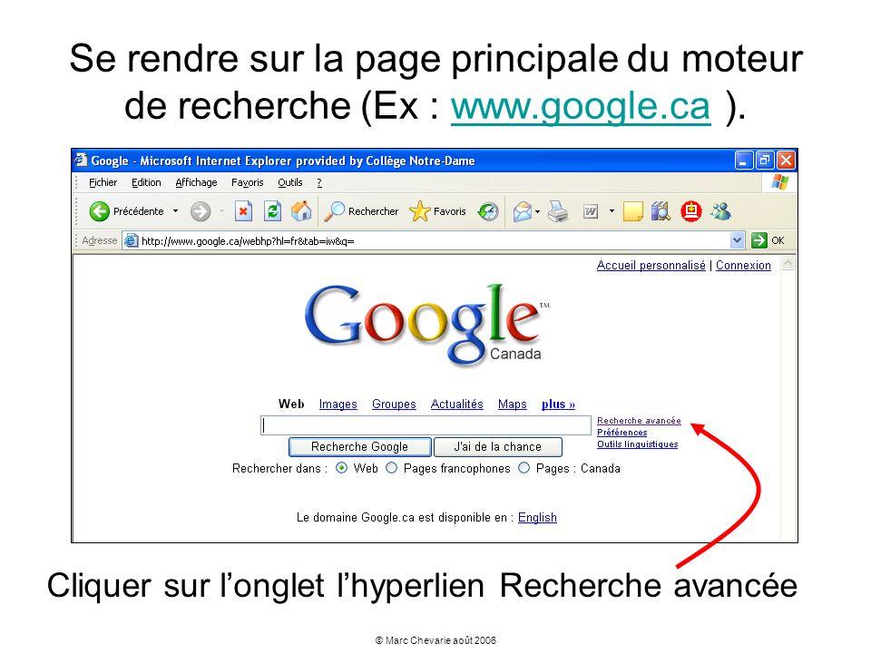 Se rendre sur la page principale du moteur de recherche (Ex : www