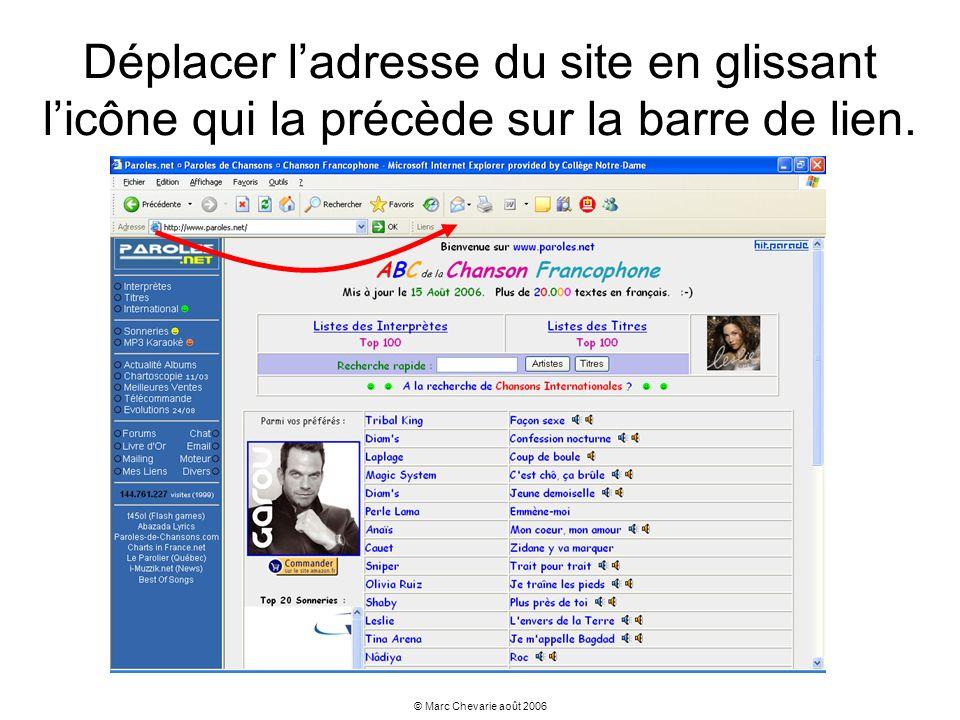 Déplacer l'adresse du site en glissant l'icône qui la précède sur la barre de lien.