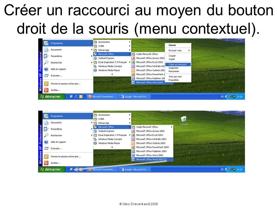 Créer un raccourci au moyen du bouton droit de la souris (menu contextuel).