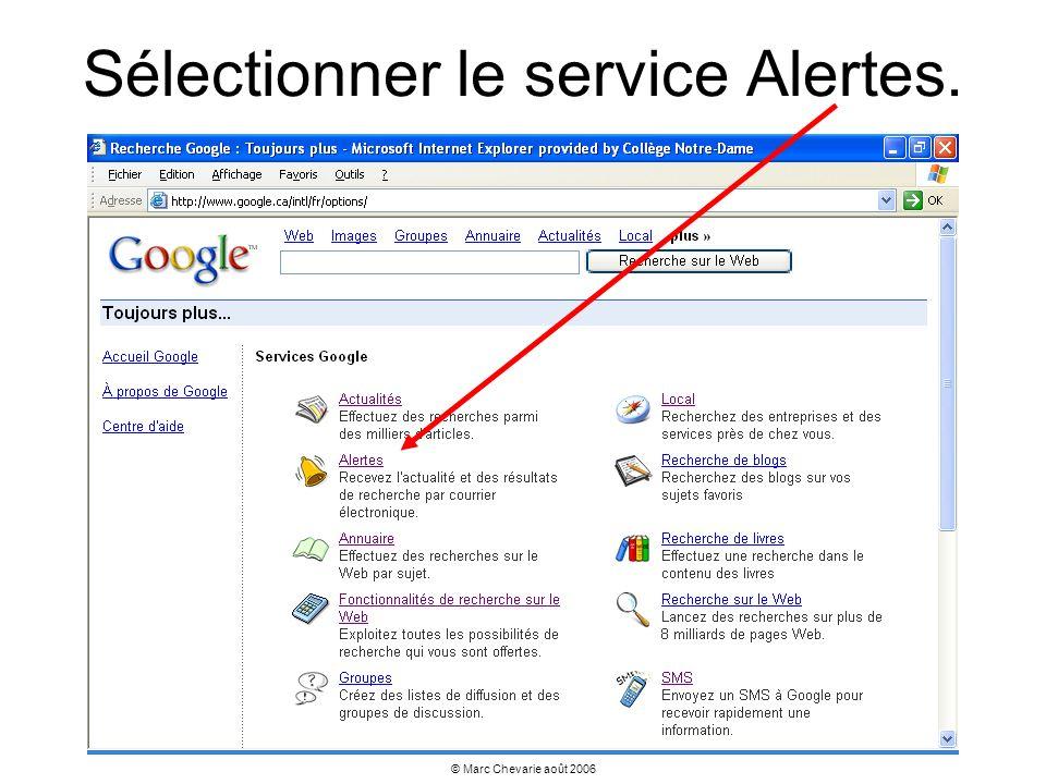 Sélectionner le service Alertes.