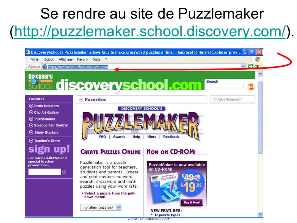Se rendre au site de Puzzlemaker (http://puzzlemaker.school.discovery.com/).
